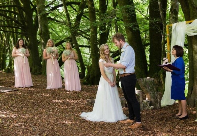 Wedding Celebrant -  reading vows woodland Ceremony