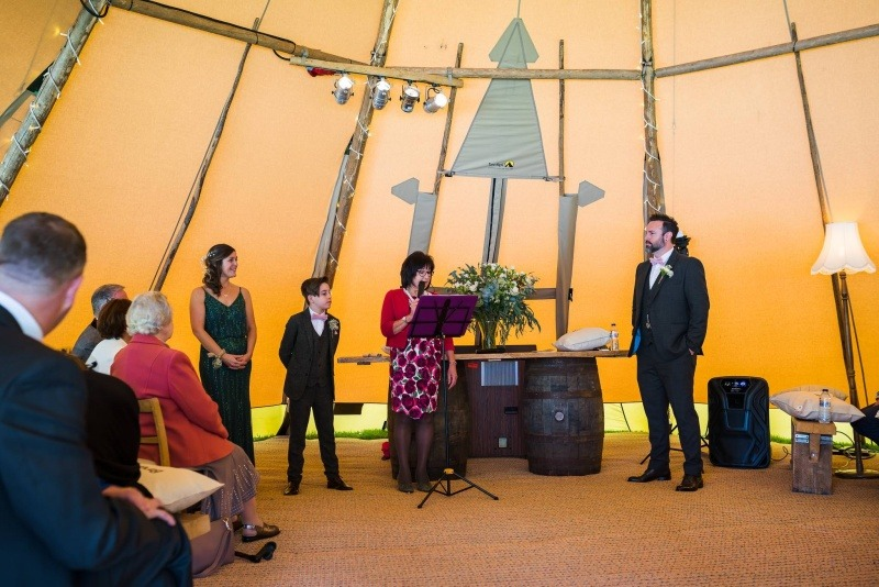 Wedding Celebrant  - Ring warming Element in Tipi Wedding