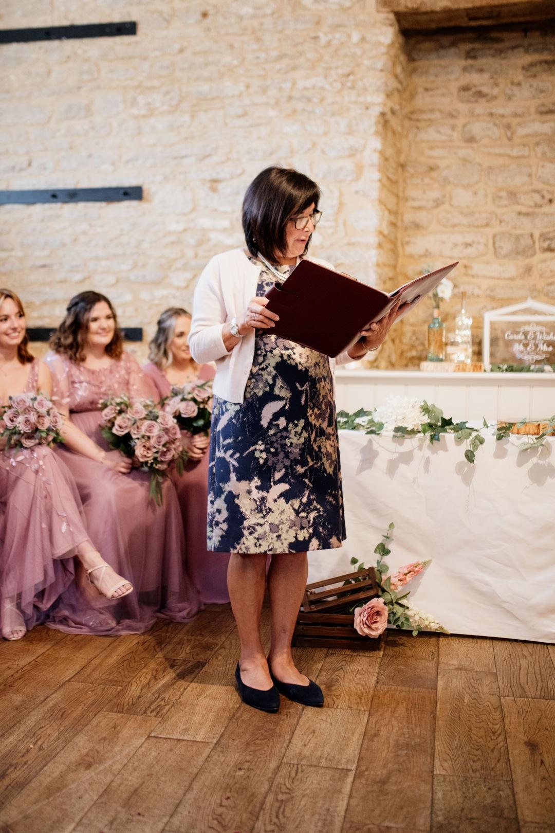Wedding Celebrant - reading the Love story